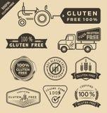 Set gluten bezpłatny jedzenie poświadczająca etykietka Obrazy Stock