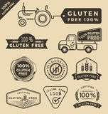 Set of gluten free food certified label. Tags design. Vector illustration Stock Images
