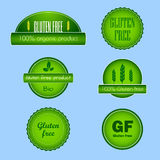 Set of gluten free food labels. Collection of labels for gluten free diet products in green and white modern design Royalty Free Stock Photography