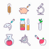 Set of GMO icons. Collection of genetic modification icons. GMO. Genetic engineering. Genetic mutation Stock Photos