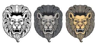 Set gniewne lew głowy royalty ilustracja