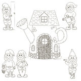 Set gnomes and a house. Gnomes are drawn by hand. Black vector outline isolated on white background. The board is holding a dwarf, you can write a welcome Royalty Free Stock Images