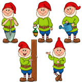 Set gnomes. Isolated vector object. Set of different garden gnomes. Isolated on white background Stock Photography
