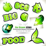 Set of Go Green Bio Tags Stock Photography