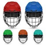 Set of goalkeeper hockey helmets, isolated on Stock Image