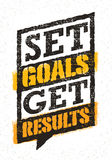 Set Goals. Get Results. Inspiring Motivation Quote Card Concept. Vector Design Element On Grunge Rough Wall Background.  Stock Images