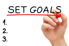 Set Goals Hand Red Marker. Hand underlining Set Goals with red marker isolated on white royalty free stock photos