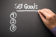 Set Goals. Hand writing Set Goals topic on chalkboard Stock Photography