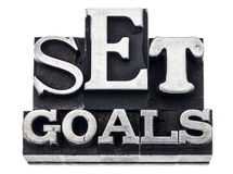Set goals in metal type Stock Images