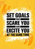 Set Goals That Scare You And Excite You At The Same Time. Inspiring Creative Motivation Quote Poster Template. Vector Typography Banner Design Concept On Stock Photo