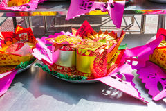 Set gods of the Chinese New Year gold paper offerings. Stock Photography