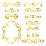 Set of gold abstract curly headers, design element set isolated on white background. Stock Photo