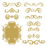 Set of gold abstract curly headers, design element set isolated on white background. Royalty Free Stock Images