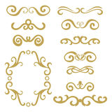 Set of gold abstract curly headers, design element set isolated on white background. royalty free illustration