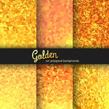 Set of 6 gold abstract polygonal backgrounds. The trend abstraction Royalty Free Stock Photography