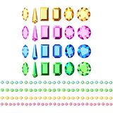 Set of gold accessories with multi-colored diamonds stock illustration
