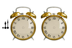 Set of gold alarm clock Royalty Free Stock Images