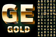 Set of gold alphabet letters. Numbers and punctuation Stock Photo