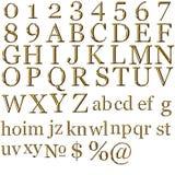 Set of gold alphabet symbols Stock Photos