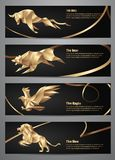 Set of Gold animal banners. Vector illustration Stock Photography