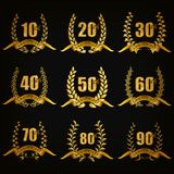 Set of gold anniversary badges Royalty Free Stock Photos