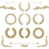 Set of gold award laurel wreaths and branches on white background, vector illustration. Set of gold award laurel wreaths and branches on white background vector illustration