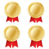 A set of gold. Award medals isolated on white background. Vector illustration of the winner concept. First place.  Stock Photography