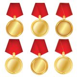 A set of gold. Award medals isolated on white background. Vector illustration of the winner concept. First place.  Stock Photos