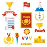 Set of gold awards. Set of gold award winner. Prize for first place in competitions in sport, business and study. Podium, medal, diplom and cup. Flat vector Royalty Free Stock Photos
