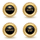 Set Of Gold Badges Royalty Free Stock Photography