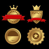 Set of Gold Badges Vintage Award Royalty Free Stock Photo