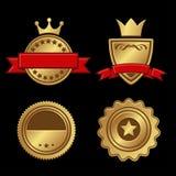 Set of Gold Badges Vintage Award Royalty Free Stock Photo