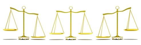 Set of gold balance scale. Isolated on white background. 3d illustration stock photography