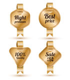 Set of gold banner with ribbon, Stock Photography
