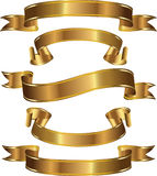 A set of gold banners. Vector set of gold decorative banners Royalty Free Stock Images