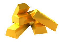 Set of gold bars 3d render on white background Royalty Free Stock Photos