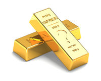 Set of Gold bars  on the White Background Royalty Free Stock Photo