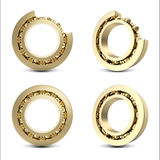 Set Gold bearing isolated on white background with shadow. 3d illustration Stock Photography