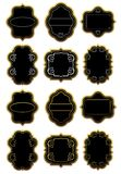 Set of gold and black labels Royalty Free Stock Images