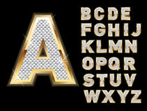Set of gold and bling letters vector illustration