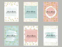 Set of 6 gold, blue, pink and white business card template or gift cards Royalty Free Stock Image