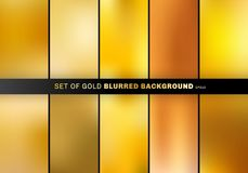 Set of gold blurred background luxury style. collection many beautiful golden color royalty free illustration