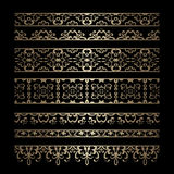 Set of gold border ornaments Stock Photos