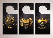 Set of gold boutique hotel door tags Royalty Free Stock Photography