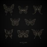 Set gold butterflies geometric shapes. Vector illustration. stock photography