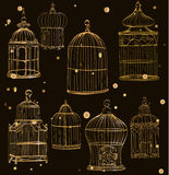 Set with gold cages. Set with 8 beautiful gold cages stock illustration