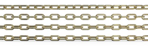 Gold Chains. Set of 4 Gold Chains. Different rotations and Wide ratio. 3 top are Isolated, 3D render stock illustration
