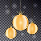 Set of Gold Christmas balls with line bow. Holiday christmas toy for fir tree. Ball with light effe. Ct isolated on transparent background. Vector illustration Stock Image