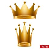 Set of Gold classic royal Crowns. King and Queen. Royalty Free Stock Photo