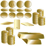 Set of gold coin and ingot. Royalty Free Stock Photos